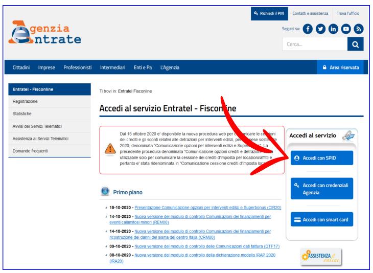 Accesso con SPID al sito dell'Agenzia delle Entrate