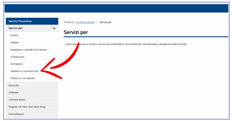 Servizi per Validare e Convertire file del sito dell'Agenzia delle Entrate