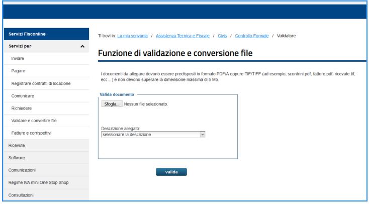 Converti file in PDF/A dal sito dell'Agenzia delle Entrate